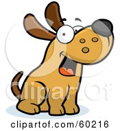 Royalty Free RF Clipart Illustration Of A Friendly Max Dog Character Sitting by Cory Thoman