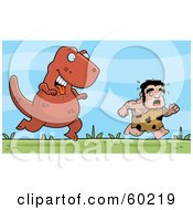 Royalty Free RF Clipart Illustration Of A Stalky Caveman Character Being Chased By A Big Dinosaur