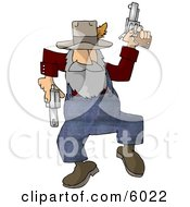 Hillbilly Shooting Guns While Dancing Around Clipart Picture