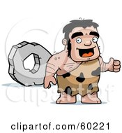 Royalty Free RF Clipart Illustration Of A Stalky Caveman Character Standing By A Rock Wheel