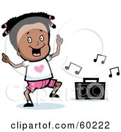 Royalty Free RF Clipart Illustration Of A Black Tisha Girl Character Dancing To Music