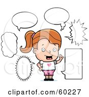 Royalty Free RF Clipart Illustration Of A Jane Girl Character With Multiple Word Bubbles by Cory Thoman