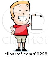 Grinning Little Boy Holding Up A Blank Report Card
