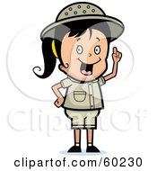 Royalty Free RF Clipart Illustration Of An Energetic Safari Girl With An Idea