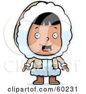 Royalty Free RF Clipart Illustration Of A Cute Eskimo Girl Character In Warm Clothing
