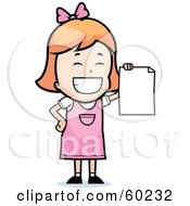 Grinning Little Girl Holding Up A Blank Report Card