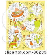 Yellow Cinco De Mayo Doodle Background Of Hats Guitars Pinatas And Festive Items