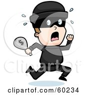 Royalty Free RF Clipart Illustration Of A Running Burglar With A Bag Of Cash by Cory Thoman