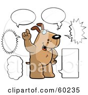Royalty Free RF Clipart Illustration Of A Brown Doggy Character With Multiple Word Balloons