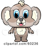 Royalty Free RF Clipart Illustration Of An Adorable Blue Eyed Brown Koala by Cory Thoman