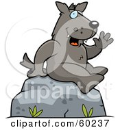 Royalty Free RF Clipart Illustration Of A Friendly Wolf Character Sitting On A Rock And Waving by Cory Thoman