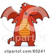 Royalty Free RF Clipart Illustration Of A Chubby Red Dragon With An Orange Belly Standing And Smiling by Cory Thoman