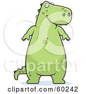 Chubby Green Tyrannosaurus Rex Dinosaur Standing And Smiing