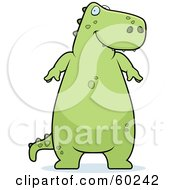 Royalty Free RF Clipart Illustration Of A Chubby Green Tyrannosaurus Rex Dinosaur Standing And Smiing