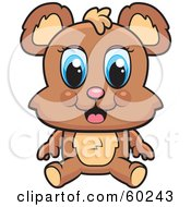 Royalty Free RF Clipart Illustration Of An Adorable Blue Eyed Bear Sitting by Cory Thoman