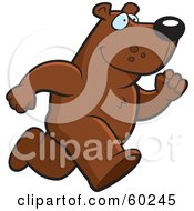 Royalty Free RF Clipart Illustration Of A Bear Character On The Run by Cory Thoman