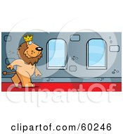 Royalty Free RF Clipart Illustration Of A King Lion Character Walking Down A Hallway In A Castle by Cory Thoman