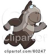 Royalty Free RF Clipart Illustration Of An Ape Character On The Run by Cory Thoman