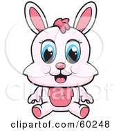 Royalty Free RF Clipart Illustration Of An Adorable Pink Bunny With Blue Eyes Sitting