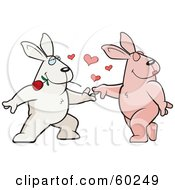 Royalty Free RF Clipart Illustration Of An Amorous Rabbit Character Biting A Rose And Dancing With A Female