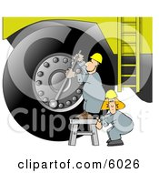 Repairman Putting A New Tire On A Huge Truck Clipart Picture by Dennis Cox