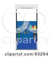 Royalty Free RF Clipart Illustration Of A Blue Pump At A Gas Station