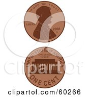 Royalty Free RF Clipart Illustration Of The Front And Back Sides Of A Penny