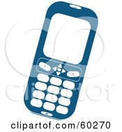 Blue Cell Phone With White Buttons And A Blank Screen