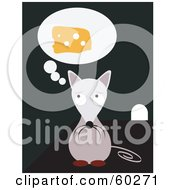 Royalty Free RF Clipart Illustration Of A Hungry Little Mouse Craving Cheese And Sitting By A Hole