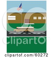Royalty Free RF Clipart Illustration Of An American Flag Waving Over A Yellow School Bus Outside Of A Building