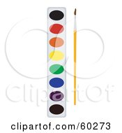 Royalty Free RF Clipart Illustration Of A Paintbrush Resting By A Paint Palette