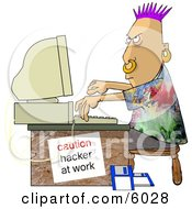 Computer Hacker At Work Clipart Picture by Dennis Cox
