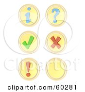 Digital Collage Of 3d Round Yellow Buttons Information Question Mark Exclamation Point Check Mark X Mark