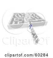 Royalty Free RF Clipart Illustration Of A 3d Blue Guy Leading White Followers Into A Maze
