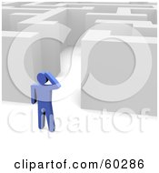 Royalty Free RF Clipart Illustration Of A Blue Guy Standing Outside A Maze by Jiri Moucka