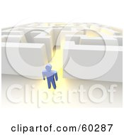 Royalty Free RF Clipart Illustration Of A Blue Guy Standing Outside A Glowing Maze