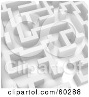 Royalty Free RF Clipart Illustration Of A 3d White Labyrinth Maze Angle 3