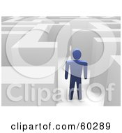 Royalty Free RF Clipart Illustration Of A Blue Guy In A Maze by Jiri Moucka