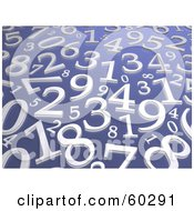 Background Of Random Silver Numbers On Blue