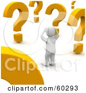 Royalty Free RF Clipart Illustration Of A Confused 3d Blanco Man Character Looking At Large Question Marks by Jiri Moucka