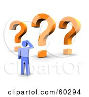 Royalty Free RF Clipart Illustration Of A 3d Blue Guy With Three Orange Question Marks