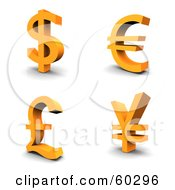 Of A Digital Collage Of Four Orange 3d Dollar Euro Pound And Yen Currency Symbols
