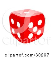 Single Red 3d Dice With One
