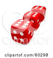 Row Of Three Red Dice With Sixes