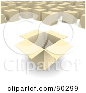 Royalty Free RF Clipart Illustration Of A Box Opened Near Sealed Boxes