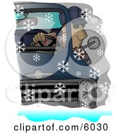 Man Driving A Chevy Pickup Truck In The Snow Clipart Picture