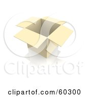 Royalty Free RF Clipart Illustration Of A Single Opened Box