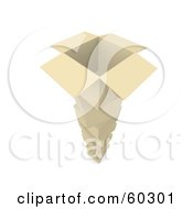 Royalty Free RF Clipart Illustration Of A Tall Stack Of Cardboard Boxes One Open On The Top