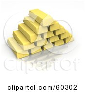 3d Gold Bars Stacked Into A Pyramid