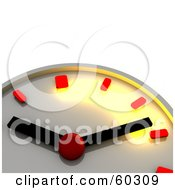 Royalty Free RF Clipart Illustration Of A Shiny Chrome 3d Wall Clock With Red Minute And Hour Markers by Jiri Moucka